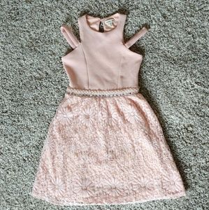 Monteau Girl's Pink Lace Dress
